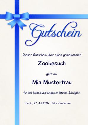 Individueller Gutschein mit blauer Schleife als PDF-Datei mit Werbe-Logo