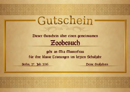 Ein edler Gutschein in goldenen Farben als PDF-Datei mit Werbe-Logo