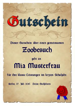 Edler Gutschein in Anlehnung an mittelalterliche Pergamente als PDF-Datei mit Werbe-Logo