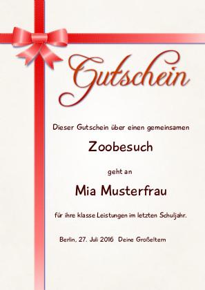 Individueller Gutschein mit roter Schleife als PDF-Datei mit Werbe-Logo