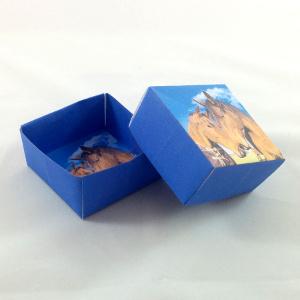 Faltvorlage für eine blaue Geschenkschachtel mit eigenem Foto. Inklusive Bastelanleitung