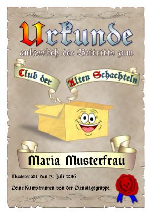 Urkunde zur Aufnahme in den Club der Alten Schachteln als PDF-Datei mit Werbe-Logo