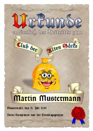 Urkunde zur Aufnahme in den Club der Alten Säcke als PDF-Datei mit Werbe-Logo