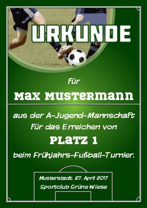 Fußball-Urkunde, zum Beispiel für Teilname oder Sieg bei einem Turnier als PDF-Datei mit Werbe-Logo