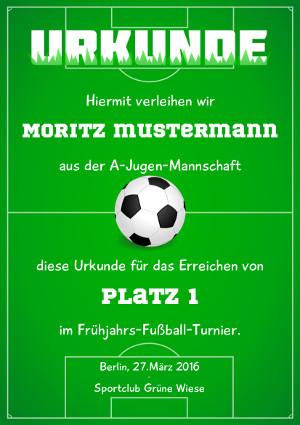 Fußball-Urkunde, zum Beispiel für Teilnahme oder Sieg bei einem Turnier als PDF-Datei