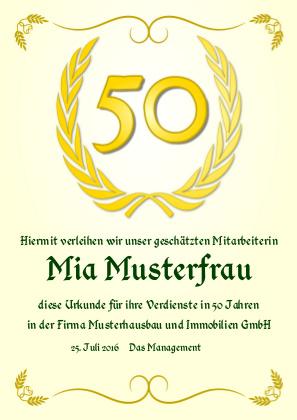 Urkunde anlässlich eines goldenen Jubiläums als PDF-Datei mit Werbe-Logo
