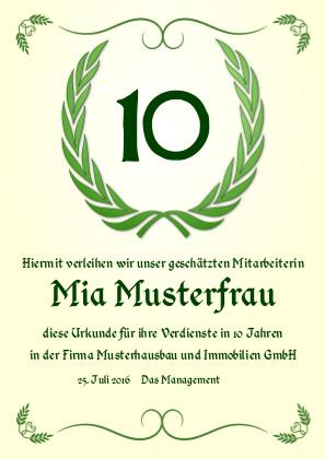 Urkunde anlässlich eines beliebigen, frei wählbaren Jubiläums als PDF-Datei mit Werbe-Logo