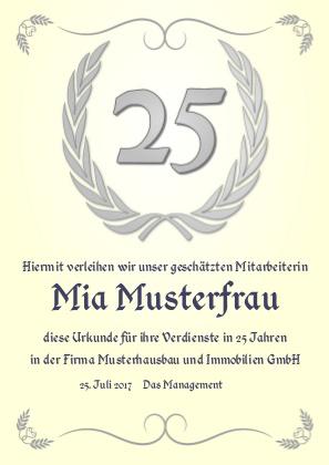 Urkunde anlässlich eines silbernen Jubiläums als PDF-Datei mit Werbe-Logo