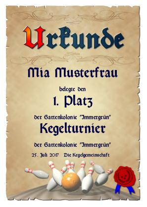 Urkunde für Kegelturniere als PDF-Datei mit Werbe-Logo