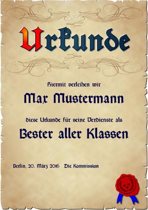 Urkunde in Anlehnung an mittelalterliche Pergamente als PDF-Datei mit Werbe-Logo