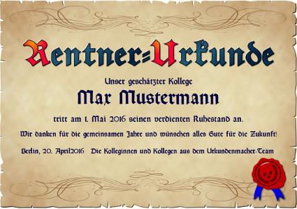 Urkunde anlässlich des Erreichens des Rentenalters als PDF-Datei mit Werbe-Logo