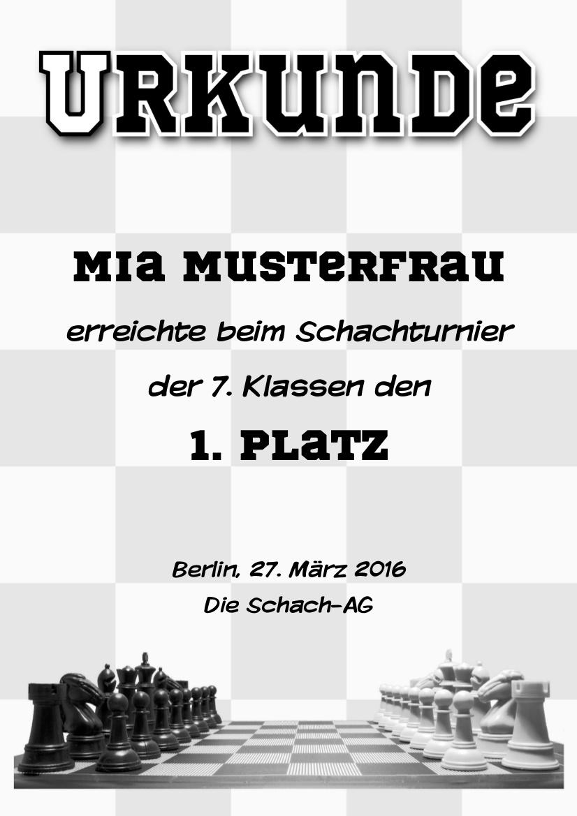 Schach-Urkunde, zum Beispiel für Teilname oder Sieg bei einem Turnier als PDF-Datei mit Werbe-Log