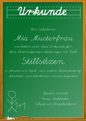 Urkunde für Schulen im Stil einer Tafel als PDF-Datei mit Werbe-Logo