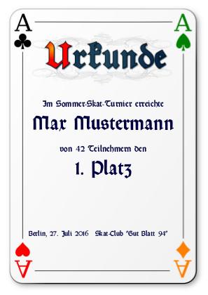 Urkunde für Skat-Turniere als PDF-Datei mit Werbe-Log
