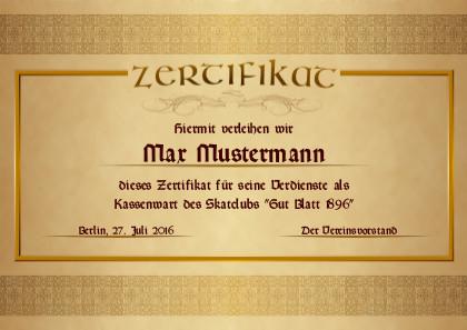 Ein edles Zertifikat für beliebige Anlässe als PDF-Datei mit Werbe-Logo