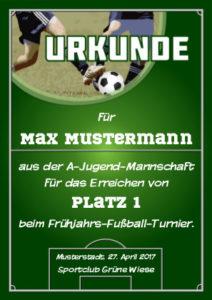 Fußball-Urkunde